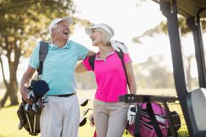Photo of couple golfing
